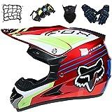 Cascos Moto Niños Set, YEDIA-01 Casco de Moto de Integral Adultos y Jóvenes con Diseño Fox, Casco de Motocross Unisex con Gafas/Guantes/Máscaras/Red Bungy (5 Piezas),S