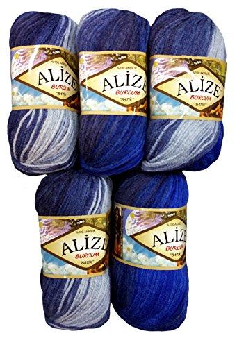 5paquets de 100g Alize Burcum Batik Bleu clair/avec dégradé de couleur, N ° 4761500gram Laine à tricoter en laine Bleu foncé