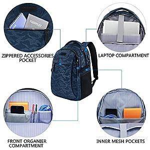 """51Ib4MuxGaL. SS300  - KROSER Mochila para Portátil de 15.6"""" Mochila de Computadora de Viaje/Trabajo con Puerto de Carga USB Repelente al Agua para Hombres/Mujeres-Camuflaje Azul Laptop Backpack"""