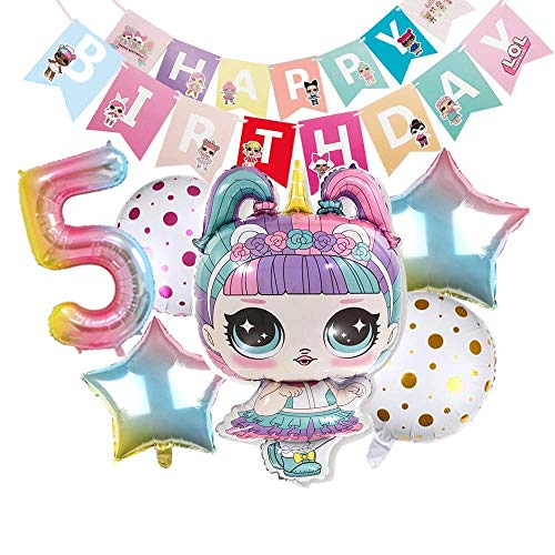 Globos de cumpleaños sorpresa de globos de fiesta LOL - Decoraciones de fiesta de cumpleaños de Lol - Decoraciones de ramo Globos de muñeca sorpresa - Suministros de fiesta de cumpleaños para niñas
