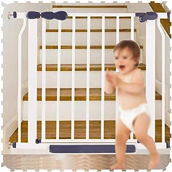 Barrière de Sécurité Barriere Securite Porte Escalier Bebe, Ajustement par Pression Animal De Compagnie Porte Fermer Simplement for Les Escaliers, Portes, Rampe-132 à 139 cm_blanc