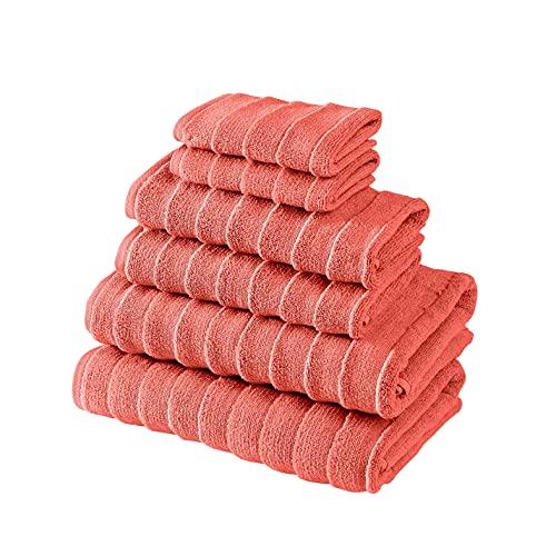 Bagno Milano Juego de toallas de spa turco, algodón turco no transgénico, suave y ultra absorbente, juego de toallas de 6 piezas, color rojo coral