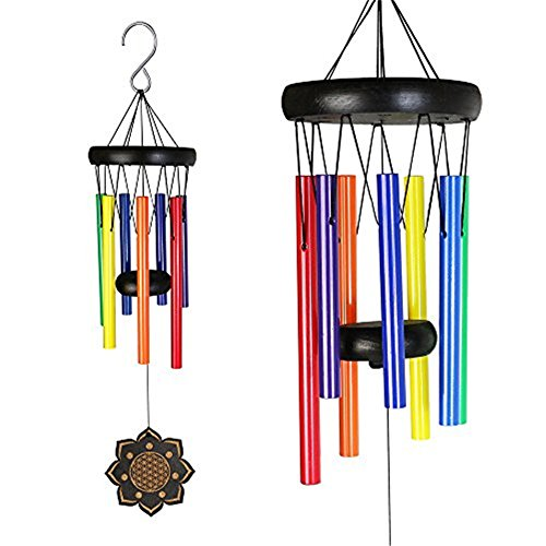 DeerBird Wooden Colorful Wind Chimes with 7 Metal Tubes Beech Wood Black Coated Wind Chime for Garden Patio Terrace and Outdoor Decoration
