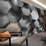 BHFDCR papel pintado pared 3d Gris cemento arte hexágono 200x100cm Sala de estar dormitorio TV sofá fondo mural de pared póster para amigos el regalo más memorabl