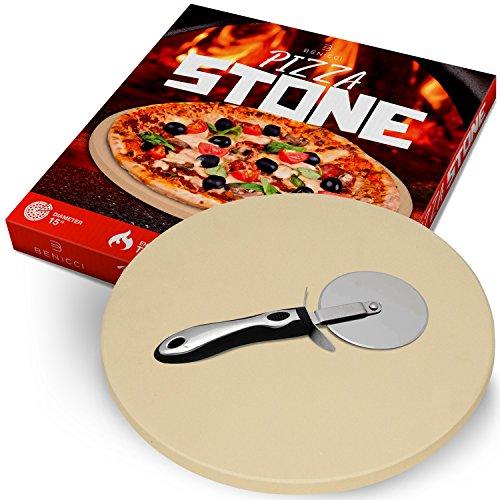 38,1cm Ronda Piedra para pizza–durable & Safe thermarite–para cocinar y hornear pan pizza &. Grande en casa horno, parrilla o al aire última intervensión–Prima profesional (Acero cortador de pizza