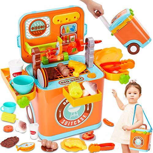 Buyger Kinder Grill Spielzeug BBQ Küchenspielzeug Zubehör Grillen Set Kochen Rollenspiel mit Licht und Sound