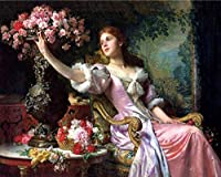 DMFNGJSD 数字油絵 フレームレス 、数字キット塗り絵 手塗り DIY絵-プリンセスと花-デジタル油絵 40x50 cm