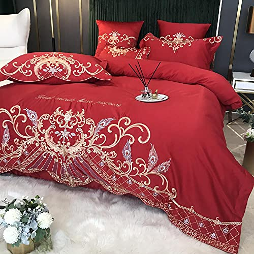 Exlcellexngce Duvet Double Cover Set,European Big Red Silk Embroidery Court Duvet Is A Single Bed Single Pillowcase, Married Birthday Friends Bedding-J_1.8m Bed (4pcs)