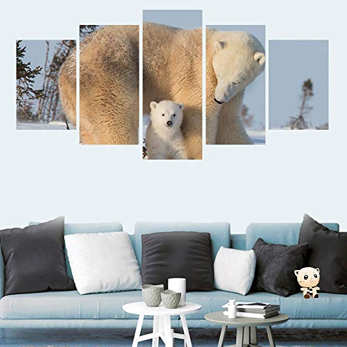 HKDGHTHJ Mural de pintura decorativa para oficina 150x100cm Animal lindo oso polar Lienzo de pared Pintura 5 paneles Impresión de carteles para sala de estar Decoración de pared de oficina