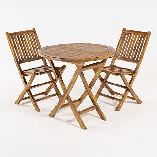 Edenjardi Conjunto de Exterior, Mesa Redonda 80 cm y 2 sillas Plegables, Madera Teca Grado A, Tratamiento al Agua aplicado