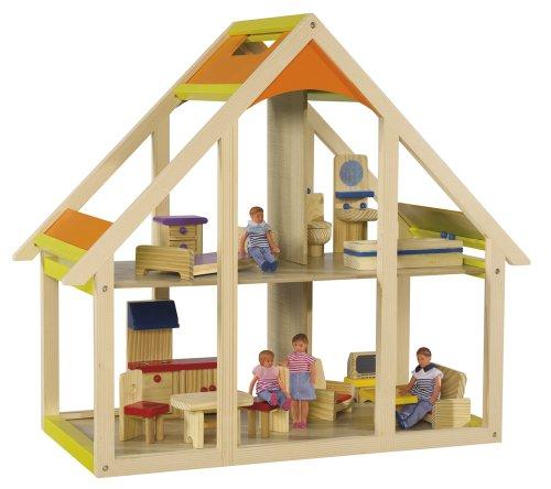 Simba Eichhorn 100002514 - Holz Puppenhaus, 15-teilig 55 x 26 x 51 cm