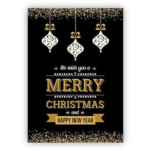 1 edele zwarte kerstkaart met kerstballen en gouden glitterlook: We wish you a merry christmas and happy new year • als feestelijke Kerstmis uitklapkaart voor het einde van het jaar