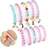 G.C 10 PCS Girls Kids Rainbow Beaded Bracelet with Cute Unicorn Rainbow Heart Star Pendant Stretchy Costume Jewelry Set Gift Play Party Favors Present Friendship Jewelry for Baby Toddler Little Girl