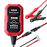 NDDI POWER Automatic Battery Charger, 1- Amp 6V and 12V Smart Battery Charger, Battery Charger Maintainer for Cars, Motorcycles, ATVs, RVs, Powersports, Boat and More