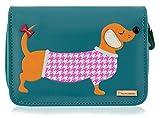 Kukubird New Girls/Ladies Medium Dachshund Cartoon Designs Purse Wallet - Blue