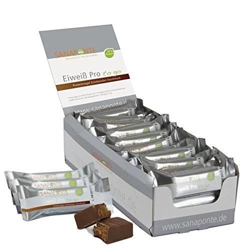 Sanaponte Eiweiß Pro'to go' Riegel 50% Protein (24x 35g Riegel) Low Carb Protein Riegel Schokoladen Geschmack - Protein Bar - nur 125 kcal, 0,6g Zucker pro Riegel