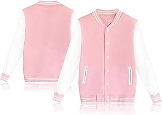 Women's Men's Baseball Button Jacket Varsity Unisex Casual Sport Sweater Coat