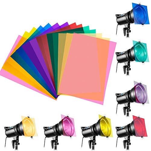 IGRMVIN 14 PCS Filtro de Gel PVC Filtros de Colores con 7 Colores Diferentes Filtro Iluminación Filtros de Compensación y Corrección para Luces de Estudio Cámara Flash (29,7 x 21cm)
