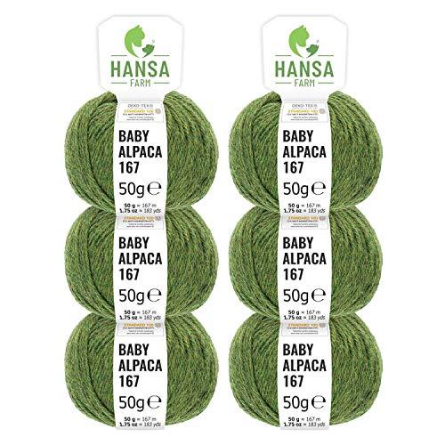 100% laine d'alpaga (bebé) dans 50+ couleurs (ne gratte pas) - Kit de 300g (6 x 50g) - Laine Baby alpaga pour tricot & crochet dans 6 épaisseurs de fil - gris-médian (heather)