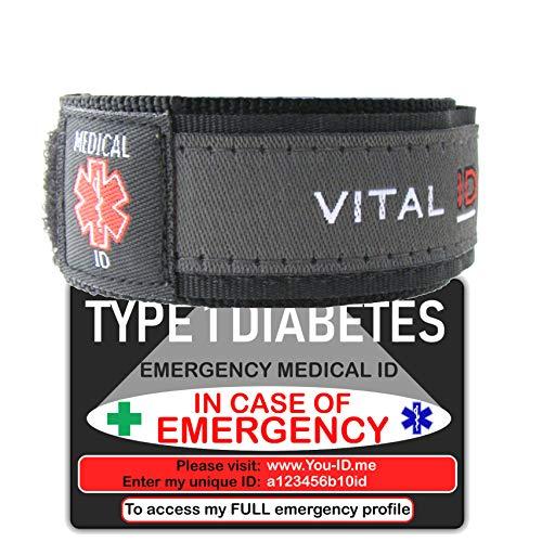 Diabetes Notfall-Armband mit Notfall-Ausweis, Notfall-Option für Kontakte, Konditionen, Meds, Blutgruppen, NHS-Nummer