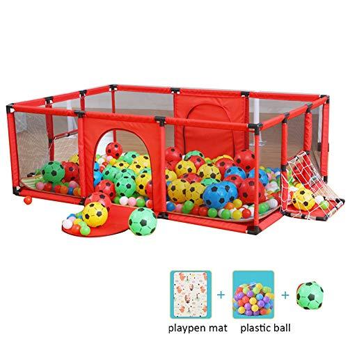 LIANGJUN-Parc bebe Centre D'activités pour Enfants Sécurité Stable Antidérapant Salle De Jeux Boîte De Football Boule en Plastique Tapis Rampant, 62cm De Haut (Color : Red, Size : 180x120x62cm)