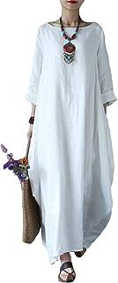 Women's Maxi Dresses Solid Kaftan Loose Cotton Long Dress Improve for Americans