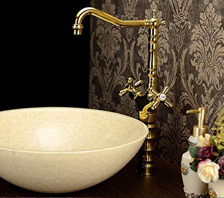 Antique Faucet hot and Cold Retro Copper European and American Classical Pure Copper Basin Faucet Green Bronze