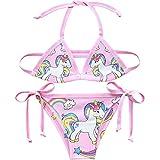 Unicorn - Bikini de dos piezas colorido para niñas estilo 4 5-6 Años
