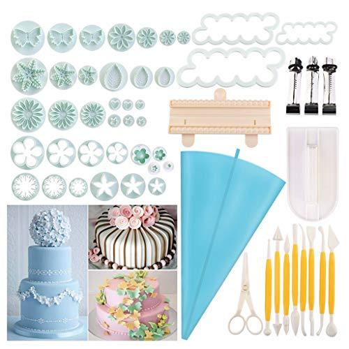 jiheousty 54pcs Fondant Tools Icing Spritzbeutel Ausstechformen Kuchen Dekorieren liefert Gummipaste Fondant Flower Making