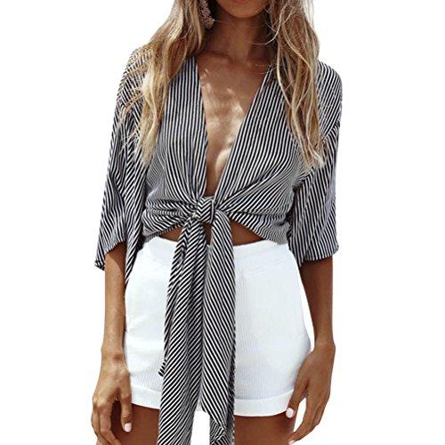 ZJP Women Striped Deep V Neck Half Sleeve Front Tie Kimono Cover Up Loose Shirt