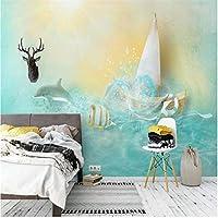 Ljjlm パペルデパレードブルー美しい海イルカ金魚北欧ソファ背景壁カスタム大フレスコグリーン壁紙-420X280Cm