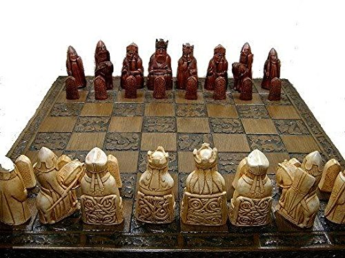 Isle of lewis chessmen - full size complete set of chess set game pieces vintage and collectors
