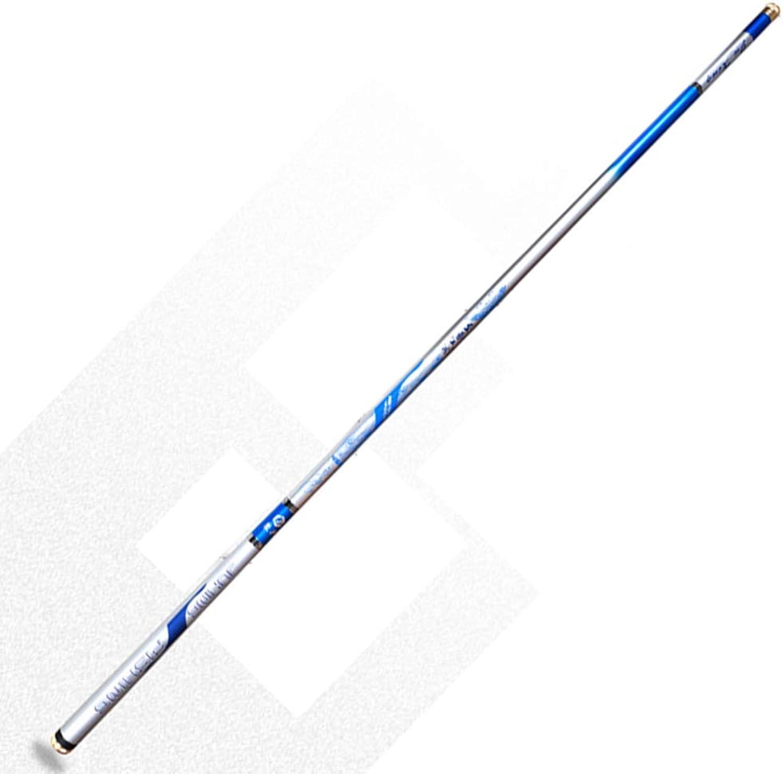 JINPENGPENG Karpfenkarpfen-Angelrute Kohlefaser ultraleichte, einziehbare Angelrute hohe Festigkeit hoher Zhigkeit,Blau,5.4m