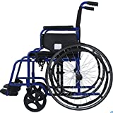 XIGUAN Manual Wheelchair, Lightweight Folding Stainless Steel Material, Elderly Trolley, Disabled Scooter (Color : Blue)