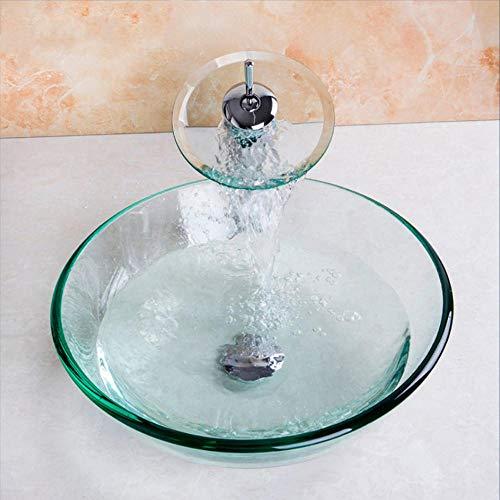Hiwenr chroom gepolijst badkamer glas schip met pop up afvoer glas wastafel set beker stijl gehard glas wastafel