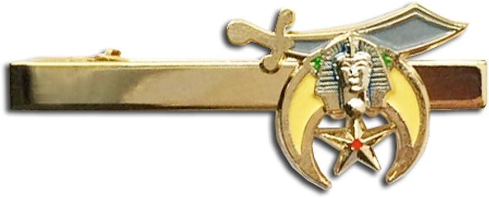 Masonic Shriner - Tie Bar / Masonic Tie Clip for Free Masons with color enamel standard symbolism.