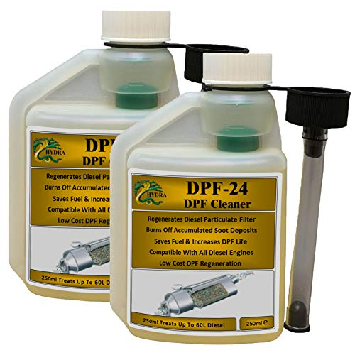 HYDRA DPF-24 DPF Cleaner DPF Filter Cleaning Diesel Particulate Filter Cleaner with DPF Cleaner Fluid for Reduced DPF Cleaner Cost Easy To Use Fuel Additive, 2x250ml treats up to 120L