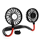 YIWEI Hanging Neck Fan Portable Mini Hand Free USB Personal Fan Battery Operated Fan Headphone Design, 3 Speeds,Perfect for Travel Outdoor Office Home Sports
