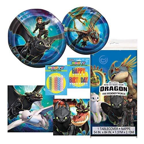 How To Train Your Dragon, HTTYD, Party Supplies for 16 Guests - Tableware Includes Plates, Napkins, Table Cover, and Birthday Candles