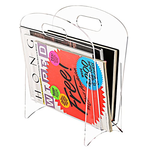 Freestanding Modern Clear Acrylic Magazine Holder Display Stand/File Folder Storage Organizer Rack