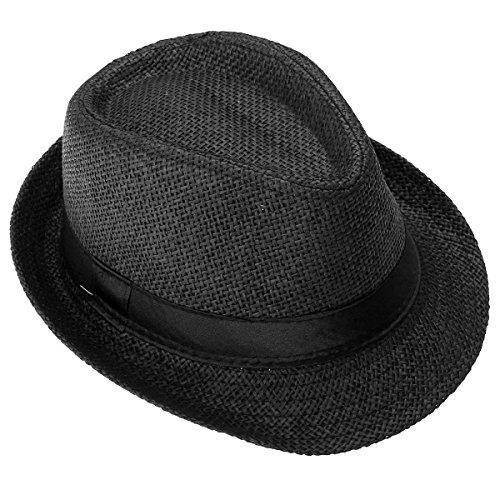 FALETO Kinder Jungen Mädchen Panamahut Sonnenhut Sommerhut Beach Hut Strohhut Jazz Hut (Schwarz)