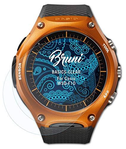 Bruni Schutzfolie kompatibel mit Casio WSD-F10 Folie, glasklare Bildschirmschutzfolie (2X)