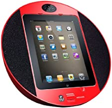 Pyle Home PIPDSP2R Touch Screen Dock with Built-In FM Radio/Alarm Clock for iPod, iPhone and iPad (Red) photo