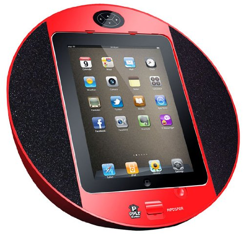 Pyle Home PIPDSP2R Touch Screen Dock with Built-In FM Radio Alarm Clock for iPod, iPhone and iPad (Red)