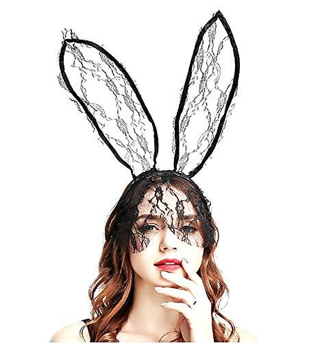 Nero - Cerchietto per Capelli - Orecchie da Coniglio - con Velina - Pizzo - Sexy - Donna - Travestimento - Halloween - Carnevale - Idea Regalo per Natale e Compleanno