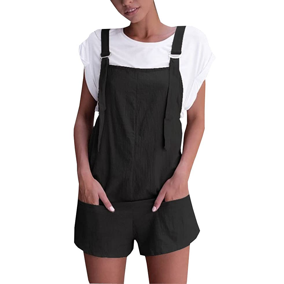 Nevera Women Bib Overall Shorts Summer Casual Elastic Waist Comfy Fit Playsuit with Pocket