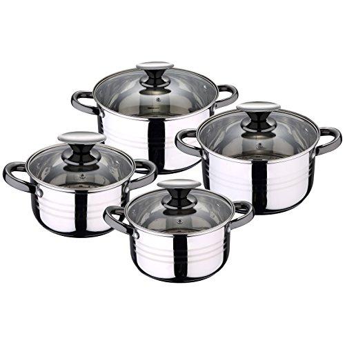 San Ignacio Premium Dina - Bateria de cocina de 4 piezas, acero inoxidable, 1.9L-2.7L-3.5L-5.1L, apta para todo tipo de cocinas incluido inducción, Gris