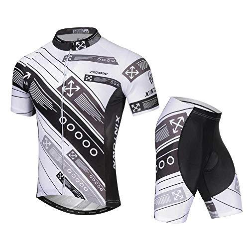 TiA Maillot Ciclismo Hombre Corta Ropa Ciclismo + Culote con 3D Almohadilla De Gel Transpirable De Secado Rápido para Bicicleta Montaña Conjunto Ciclismo Deportivo