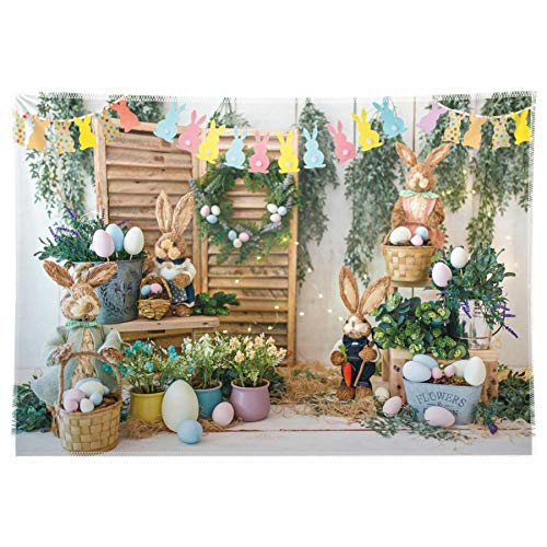 Allenjoy 8x6ft Durable Fabric Easter Backdrop Spring Garden Rabbit Decoration Flower Stand Photography Background Bunny Flag Party Supplies Newborn Baby Portrait Photo Booth Props