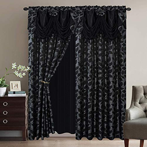 """Luxury Home Collection Jacquard Leaves Window 2 Panel Curtain Set with Attached Valances and Backing with 2 Tassel Tie Backs -Window Curtains for Bedroom, Living Room, or Dining (Black, 55"""" x 84"""")"""